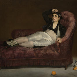 Painting of reclining young woman