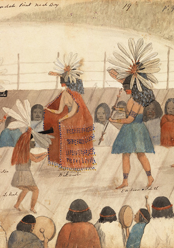 Baadah Point, Neah Bay. Watercolor by James G. Swan. Watercolor of Four Native Americans in ceremonial dance.