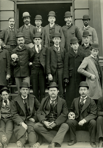 Yale School of Medicine Class of 1895 (including students from the 1896 and 1897 classes) posing with skulls.