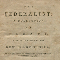 Photograph of title page of The Federalist (1788)