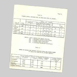 Typewritten education statistics from Swaziland
