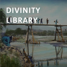 Divinity Library, photograph of farmers crossing a river on a wooden bridge