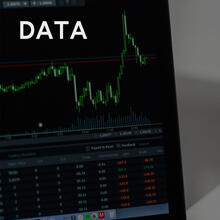 Stock data, including a candlestick chart and pricing information