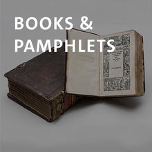 Books and pamphlets, two leather bound Bibles.
