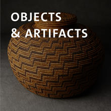 Objects and artifacts, woven patterned lidded basket.